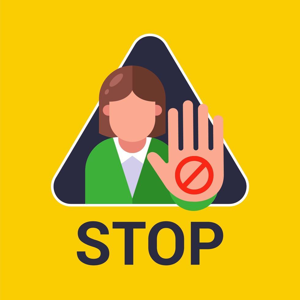 femme montre signe d'arrêt de la main vecteur