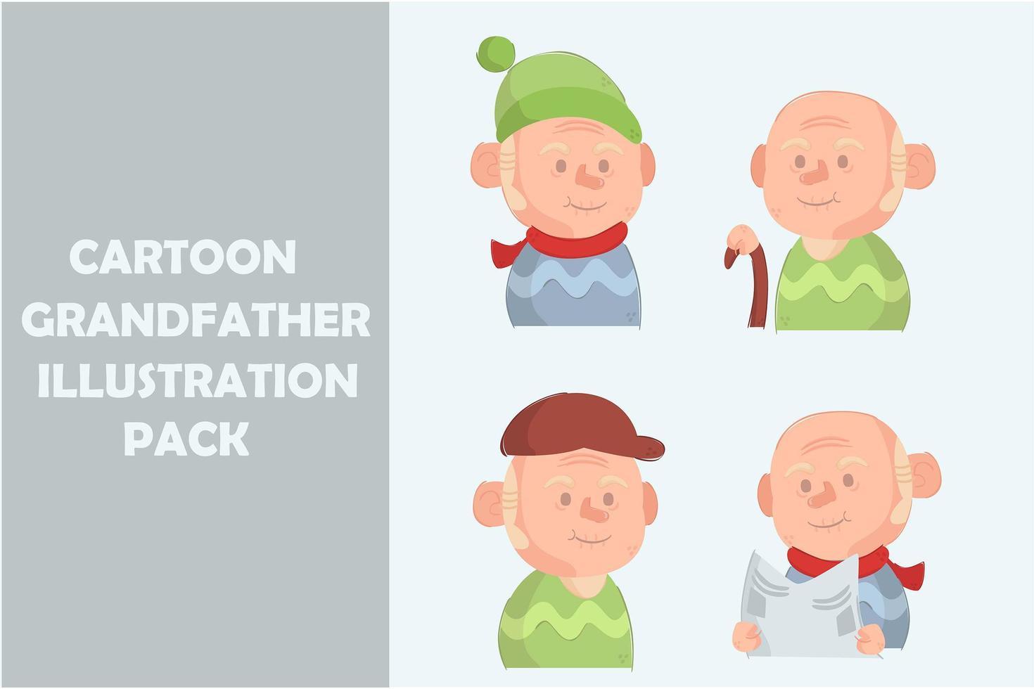 pack de grand-père de dessin animé vecteur