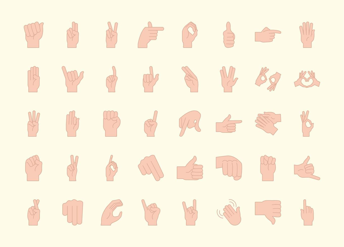 collection d'icônes de gestes de la main et de la langue des signes vecteur