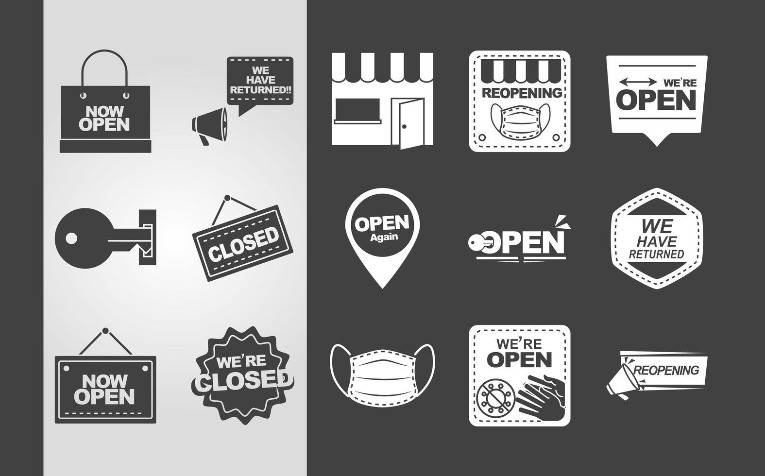 enseignes et panneaux pour la collection d'ouverture d'entreprise vecteur
