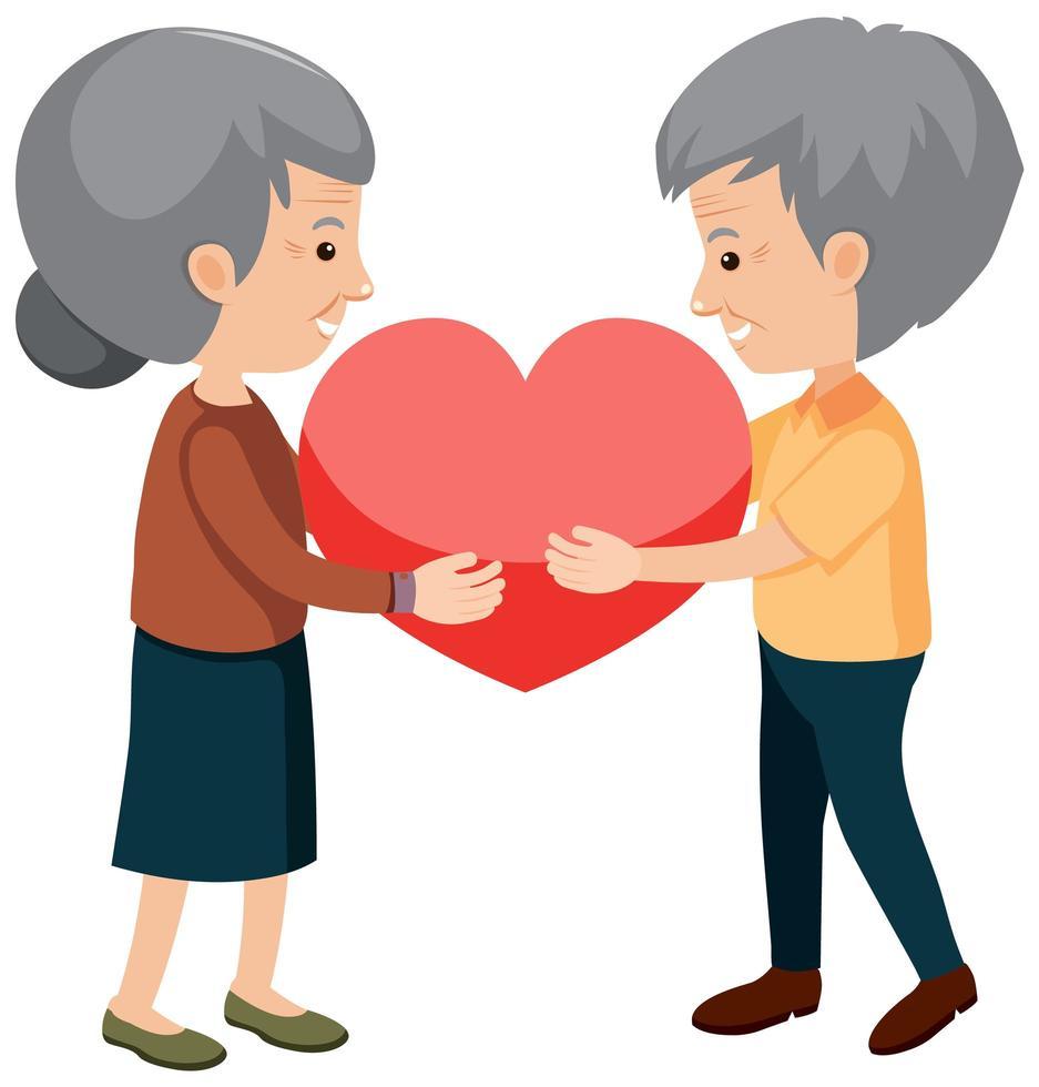 heureux grands-parents tenant coeur vecteur