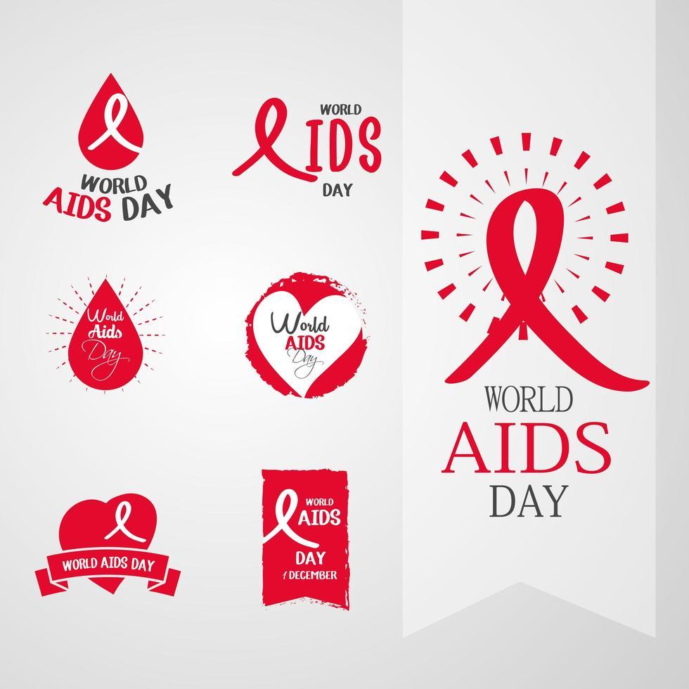 collection d'icônes de sensibilisation à la journée mondiale du sida vecteur