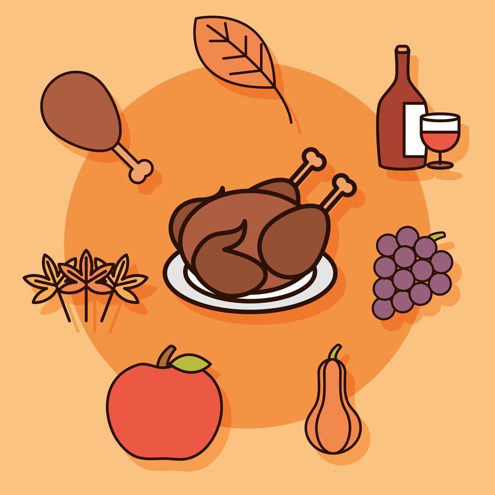 jeu d'icônes de fête de Thanksgiving vecteur