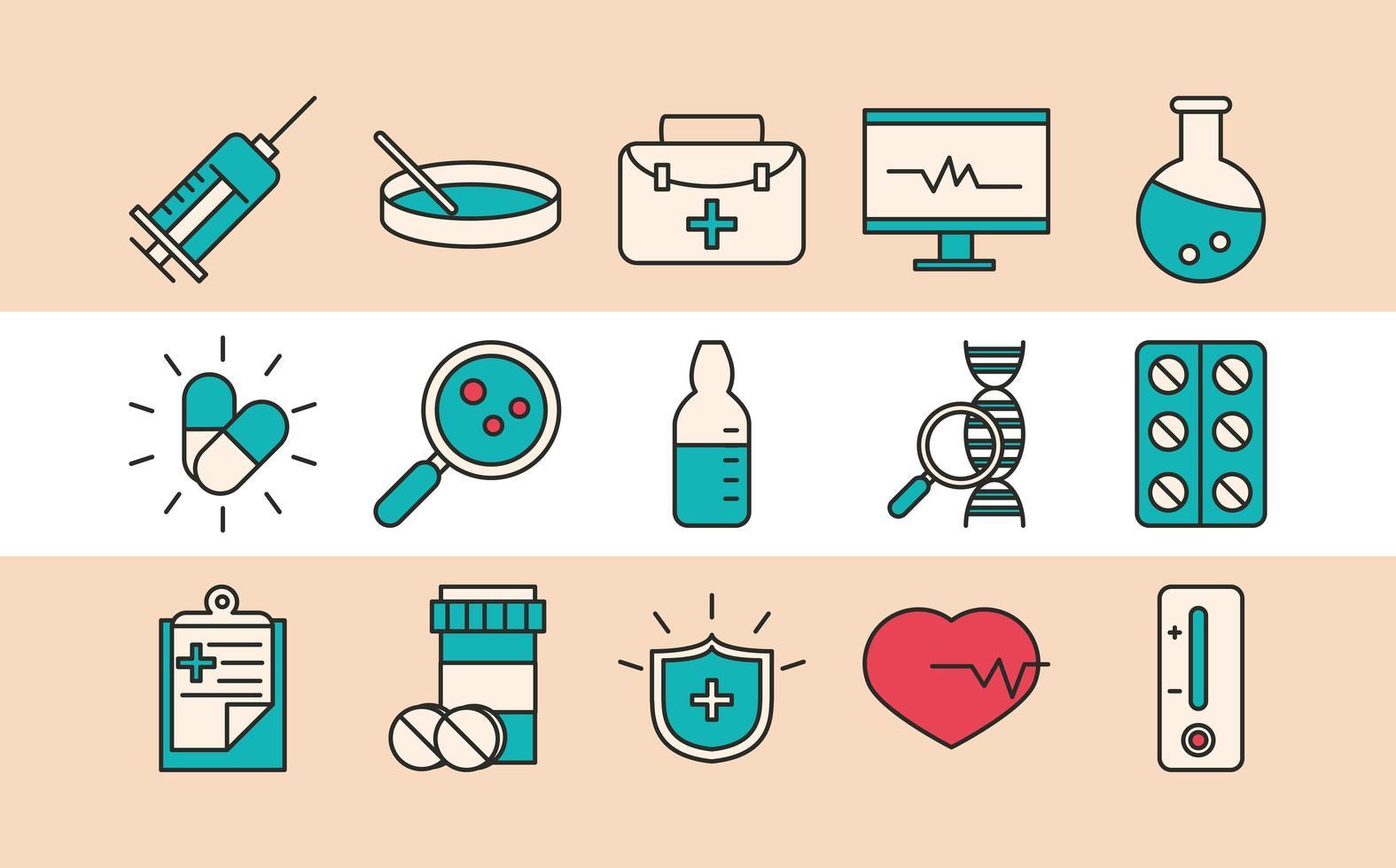 recherche sur les vaccins et collection d & # 39; icônes scientifiques vecteur