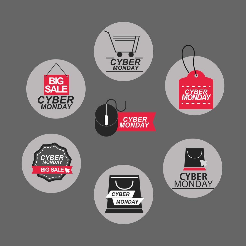 jeu d'icônes de vente cyber lundi vecteur