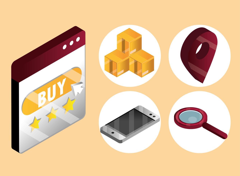jeu d'icônes isométrique achats en ligne et e-commerce vecteur