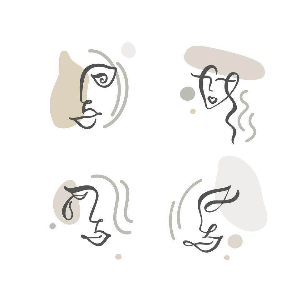 dessin abstrait en ligne continue de faces définies vecteur