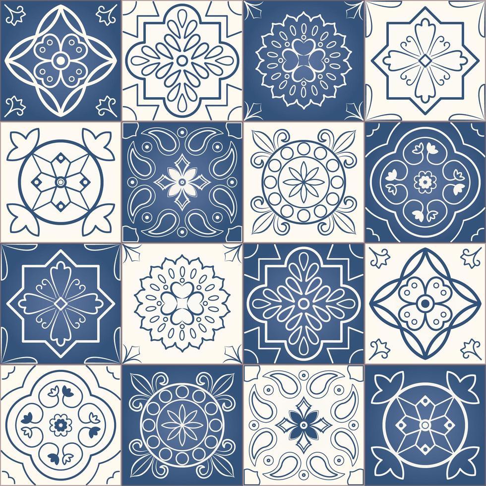 motif de patchwork sans couture de carreaux marocains bleus et blancs vecteur
