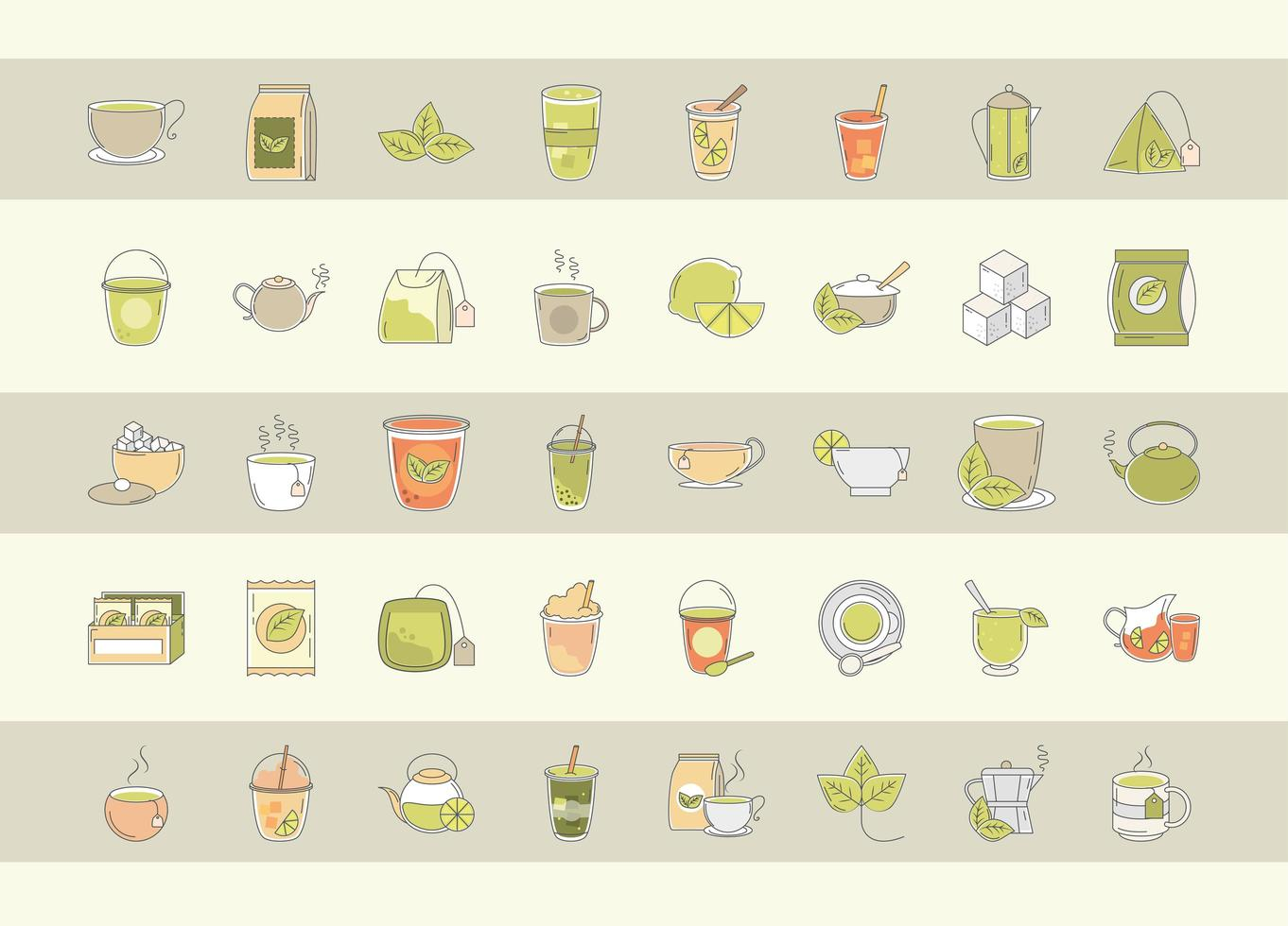jeu d'icônes de l'heure du thé vecteur