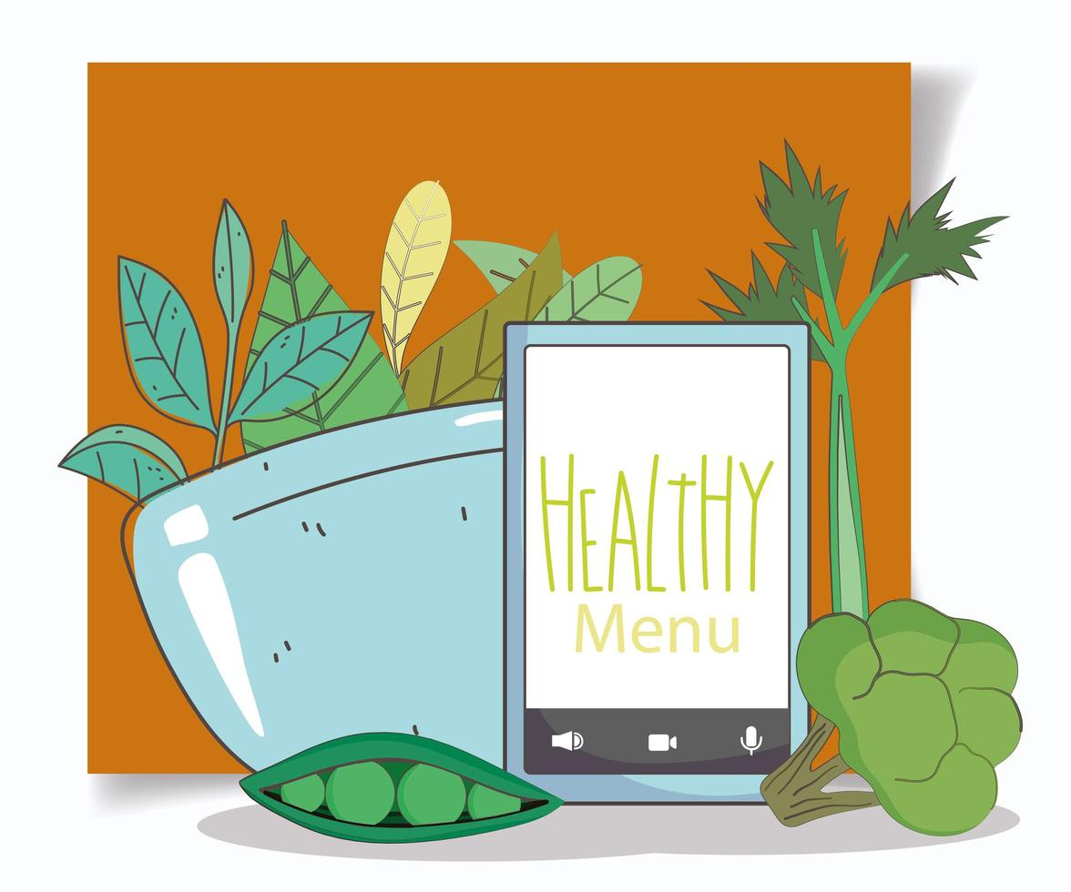 menu sain et composition de commerce électronique d'aliments frais vecteur
