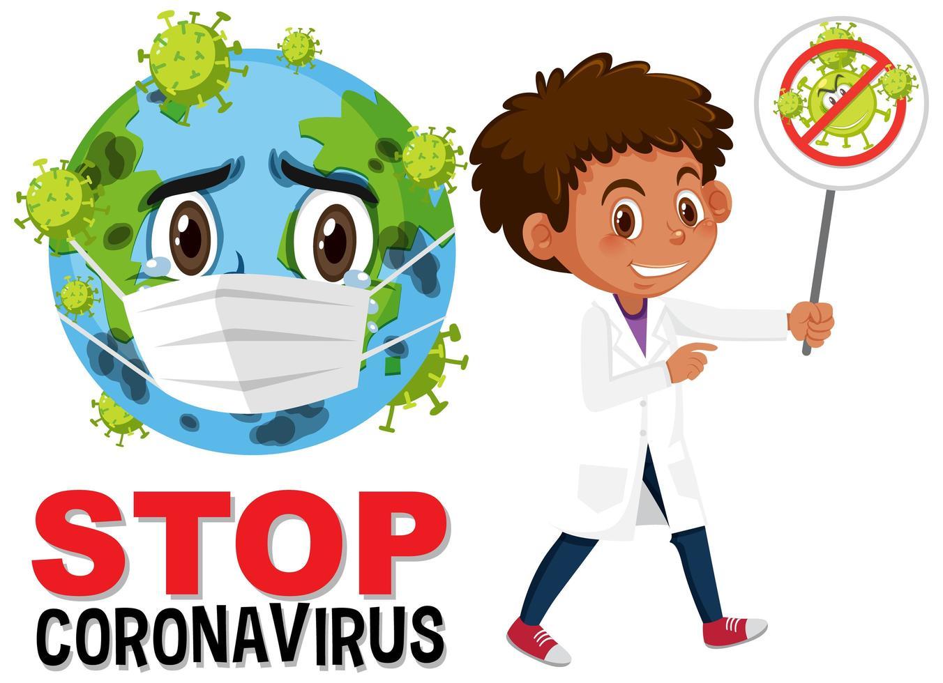 arrêter le texte du coronavirus avec la terre portant un masque facial vecteur