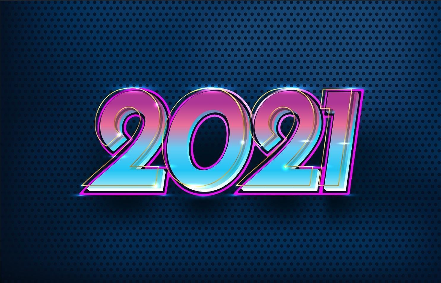 futuriste élégante bonne année 2021 vecteur