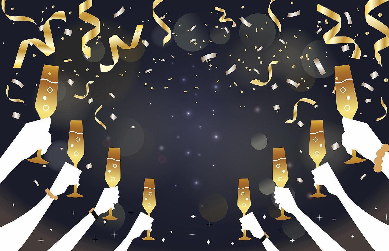 élégant minimaliste de mains faisant un toast de boisson dans la conception de fond de fête vecteur