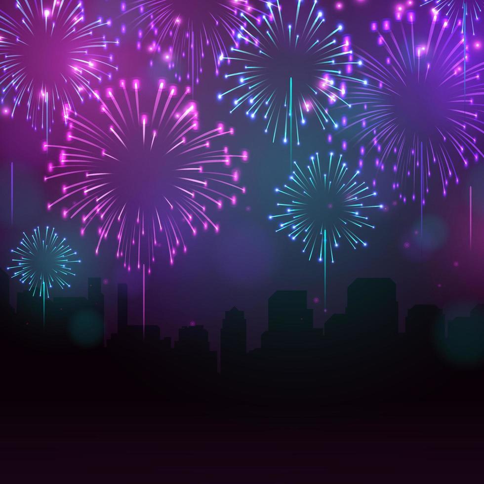 belle nuit de feux d'artifice vecteur