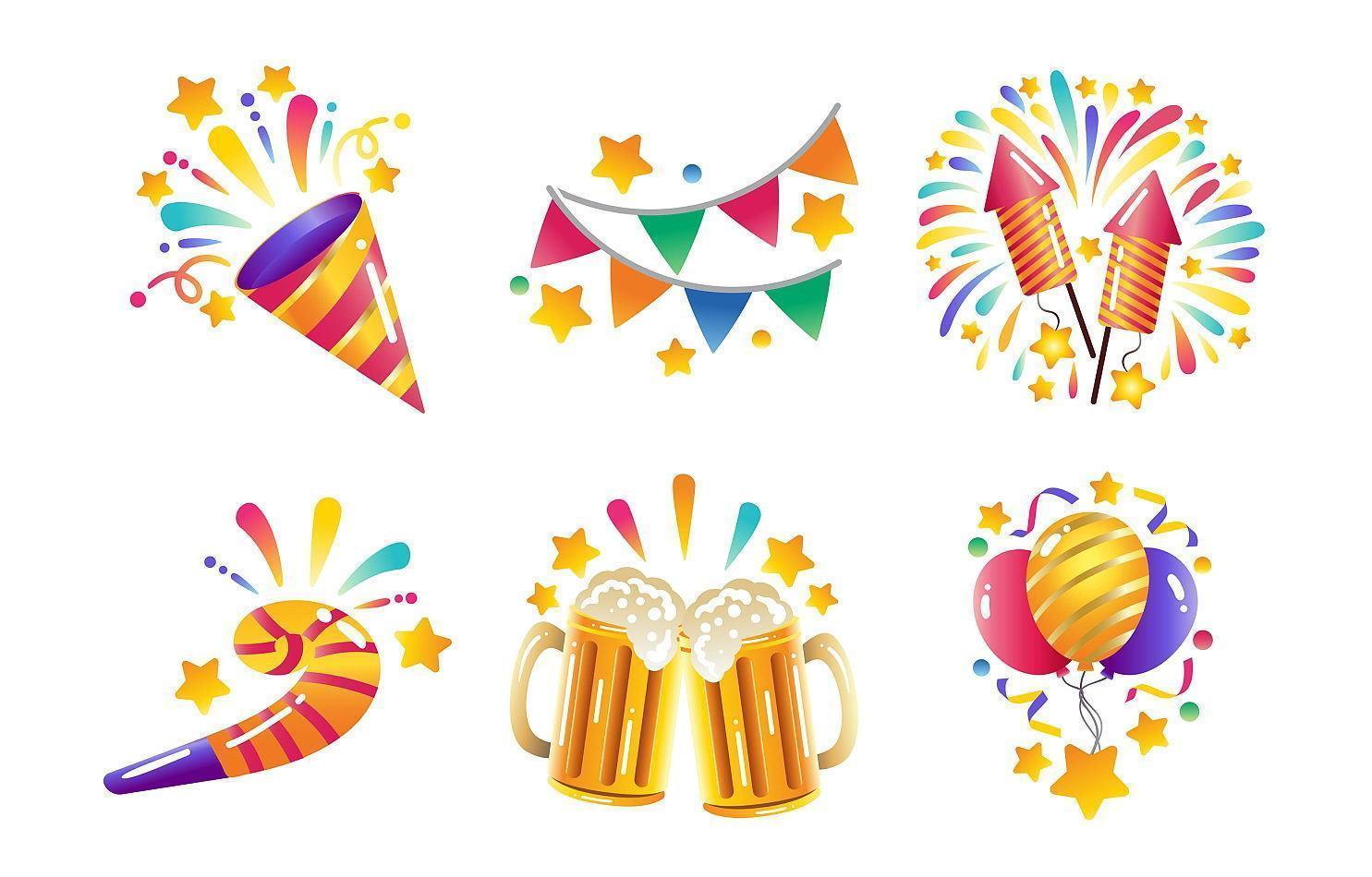 icônes de fête du nouvel an coloré vecteur