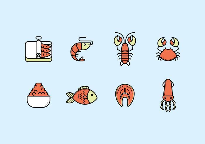 Ensemble d'icônes de fruits de mer vecteur