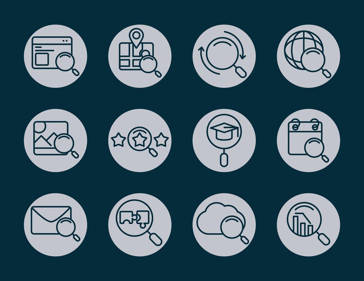 icône de recherche Web sertie de loupe vecteur