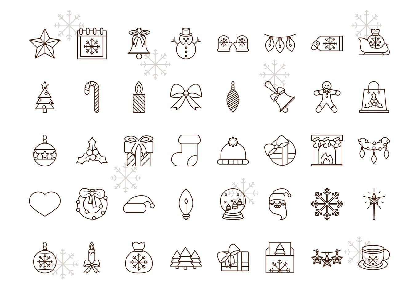 collection d'icônes d'art en ligne de noël vecteur