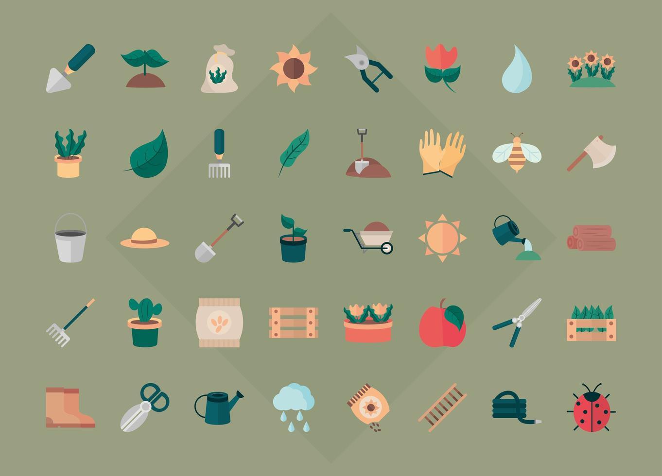 collection d & # 39; icônes plat jardinage et récolte vecteur