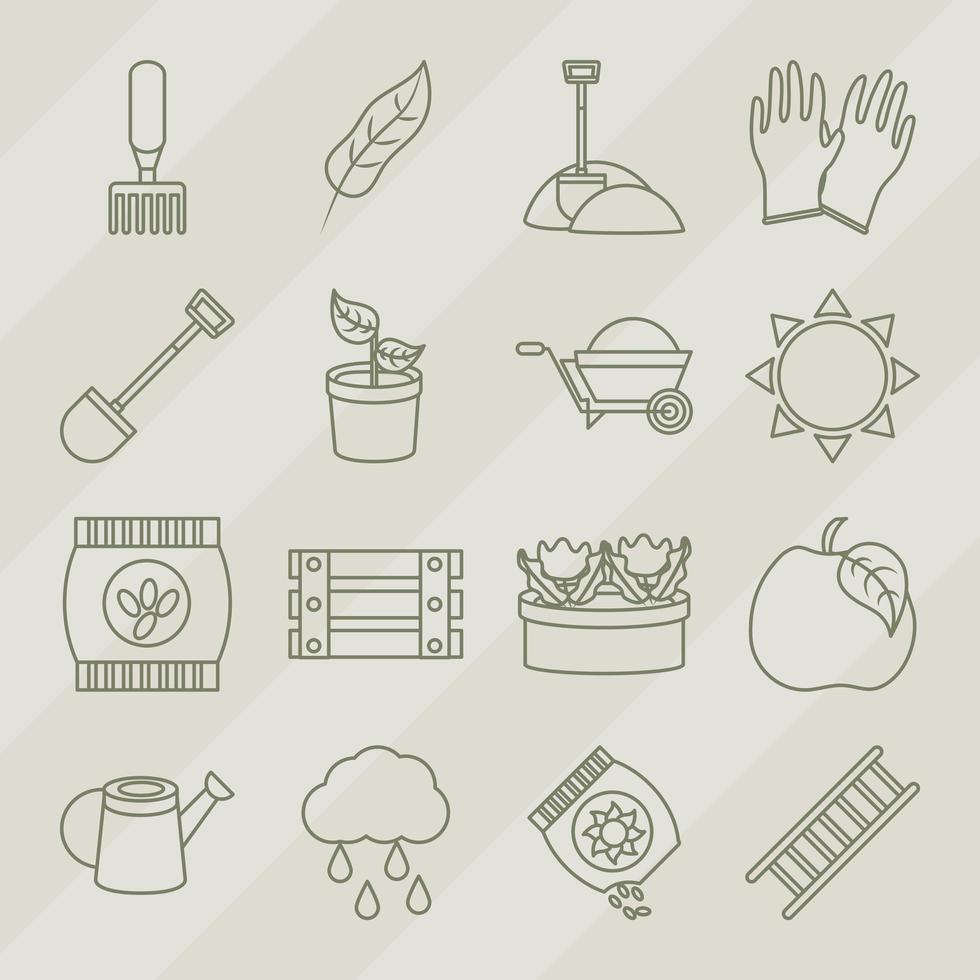 collection d'icônes d'art en ligne de jardinage et de récolte vecteur