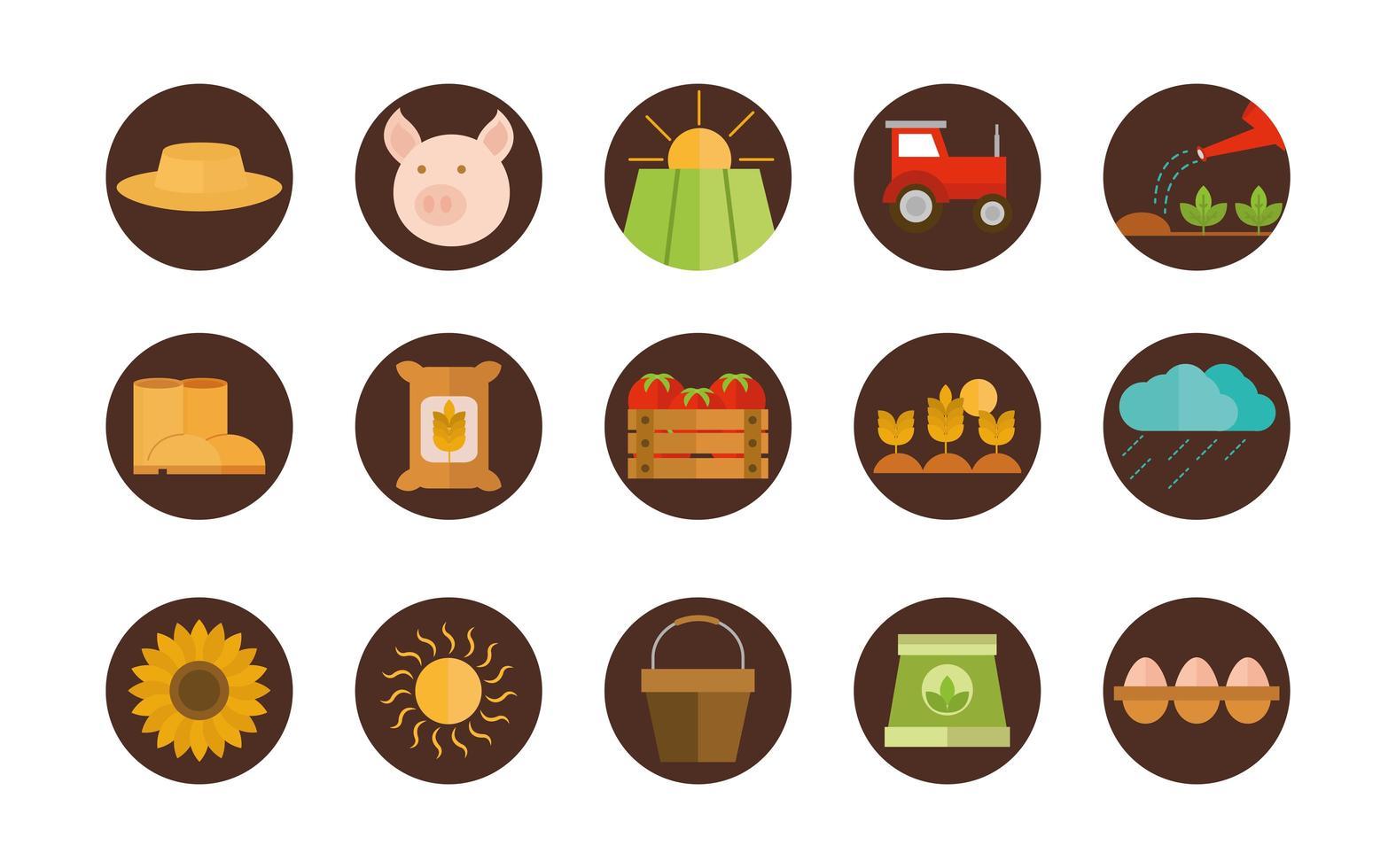 ensemble d'icônes plat agriculture et élevage vecteur
