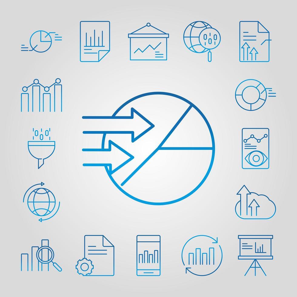 analyse de données, jeu d'icônes de stratégie commerciale et marketing vecteur