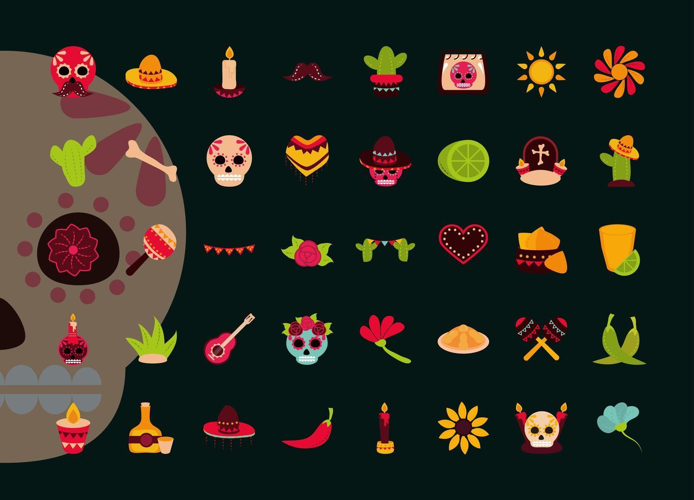 jeu d'icônes plat fête des morts vecteur