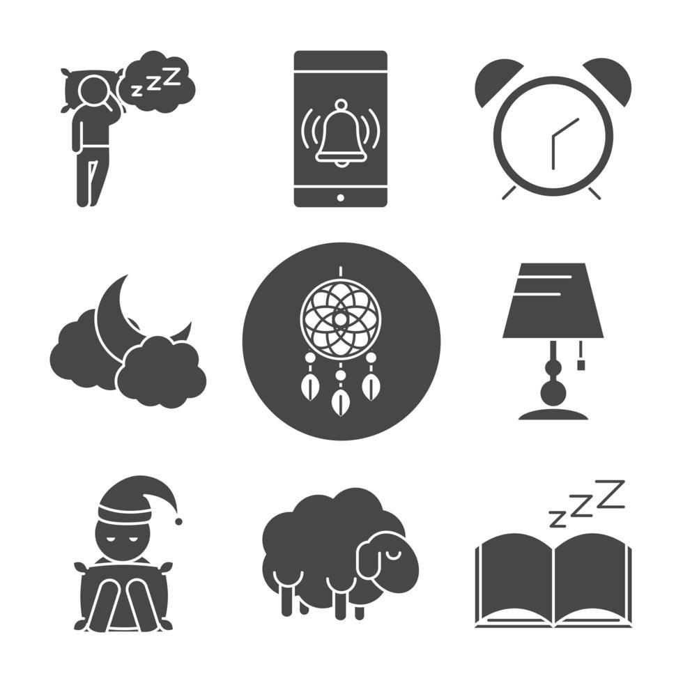 jeu d'icônes de silhouette de qualité de sommeil vecteur
