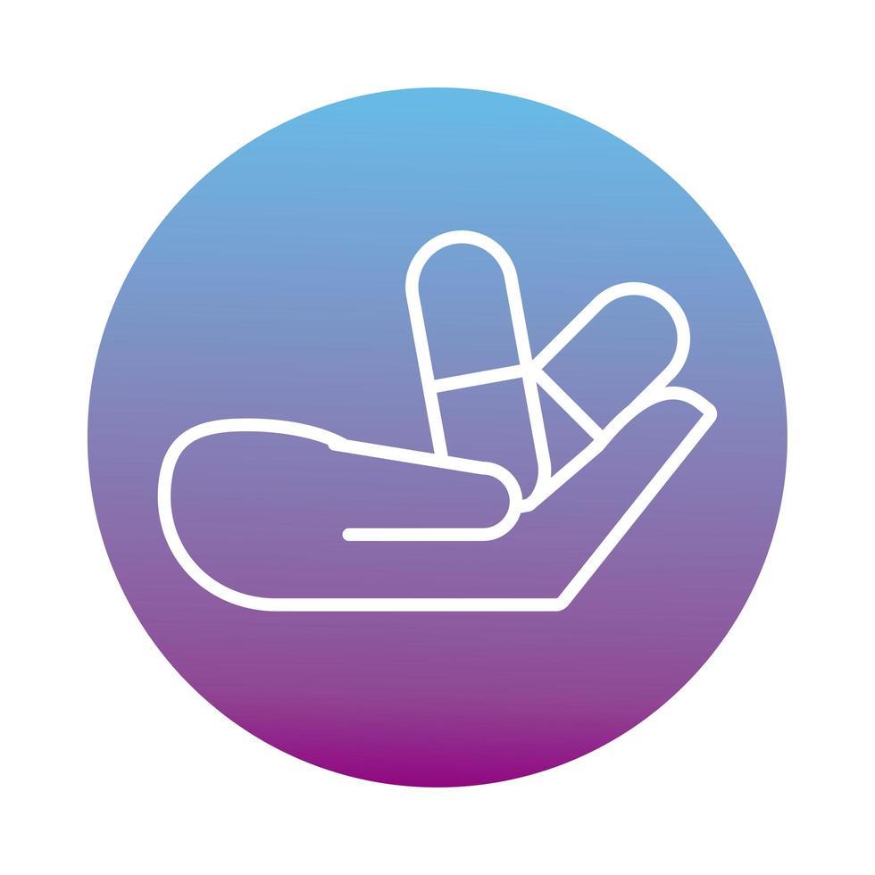 mains avec icône de style de bloc de médicaments capsules vecteur
