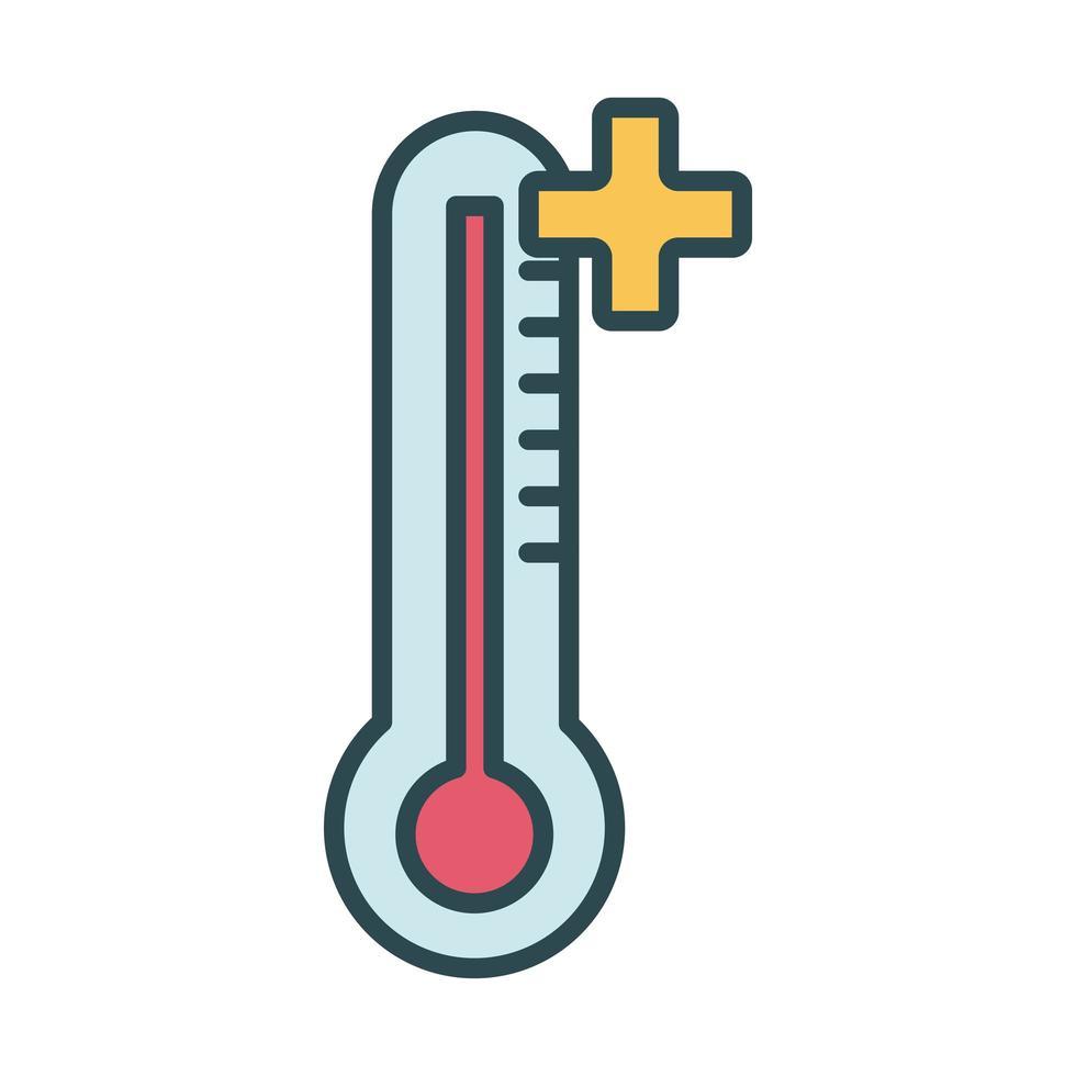 style de remplissage de mesure de température de thermomètre vecteur
