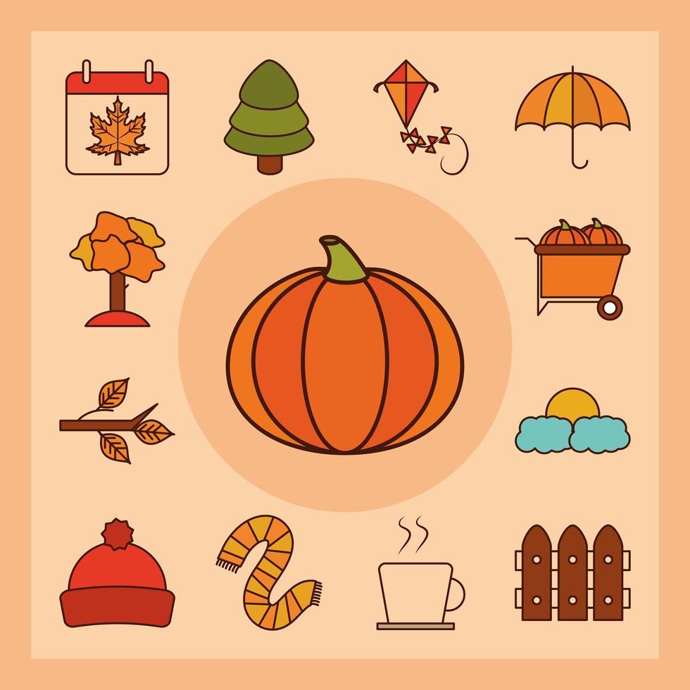 jeu d'icônes de saison d'automne vecteur