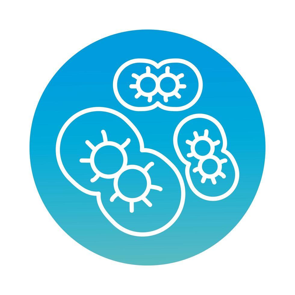 cellules infectées avec l'icône de style de bloc covid19 vecteur