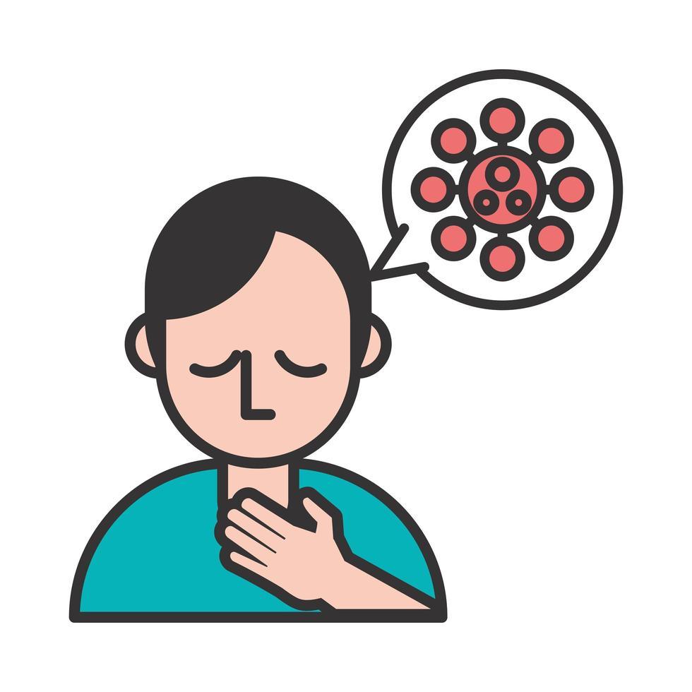 personne souffrant de maux de gorge symptôme de covid19 vecteur