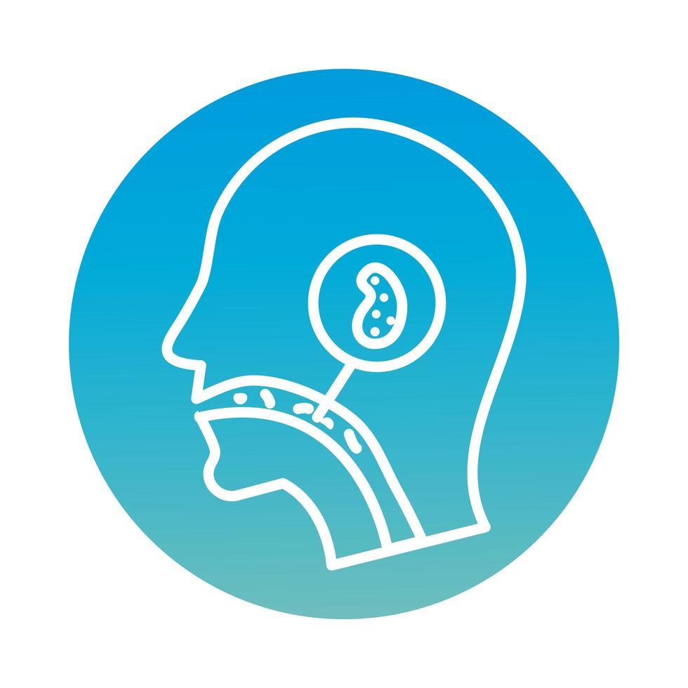 profil avec icône de bloc de cellule infectée covid19 vecteur