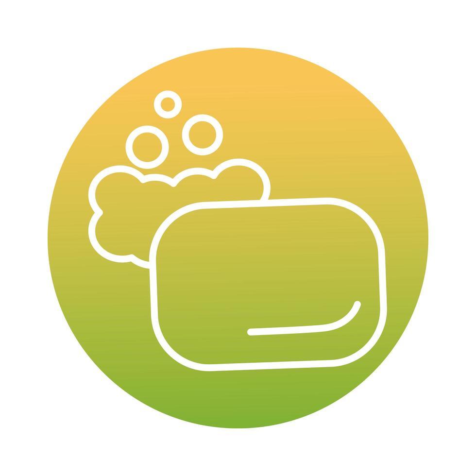 savon avec icône de style bloc de mousse vecteur