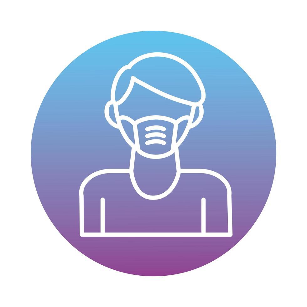 homme utilisant le style de bloc accessoire de masque facial vecteur