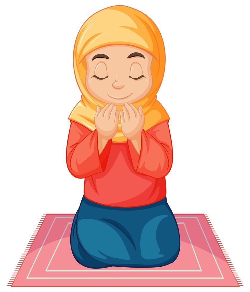 fille musulmane arabe priant vecteur