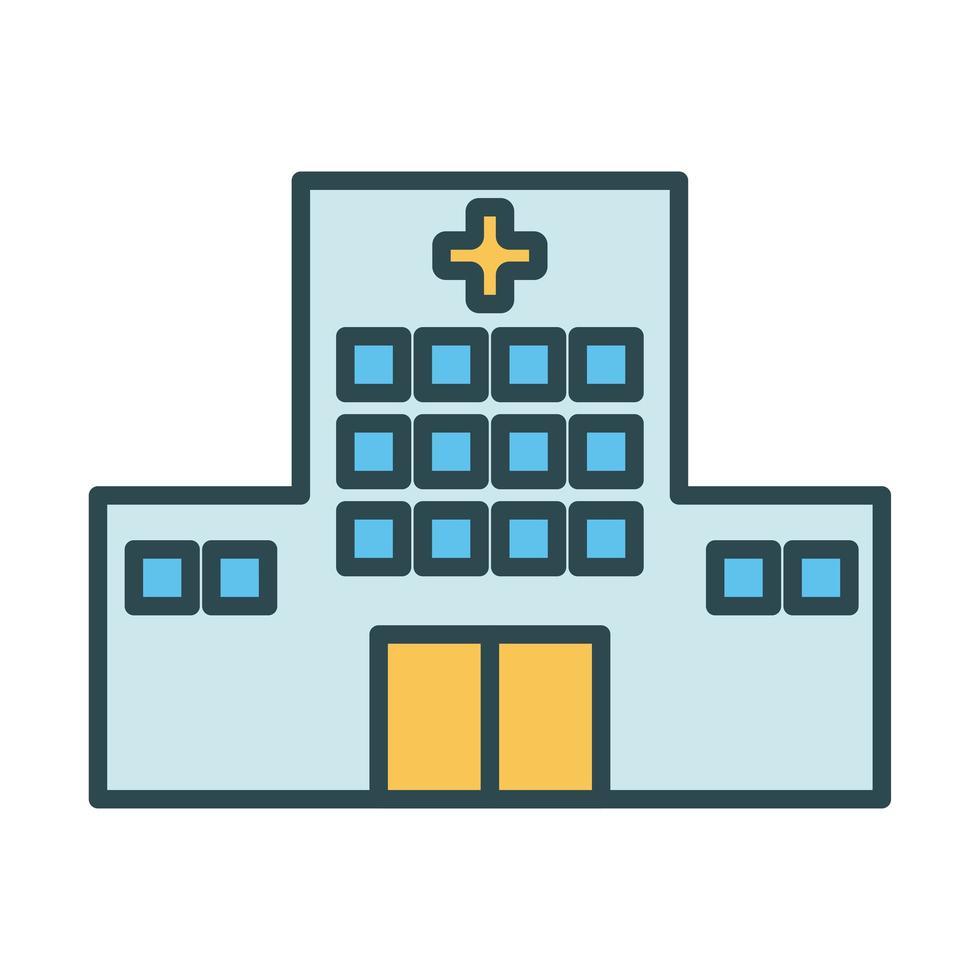 icône de style de remplissage de bâtiment hôpital vecteur