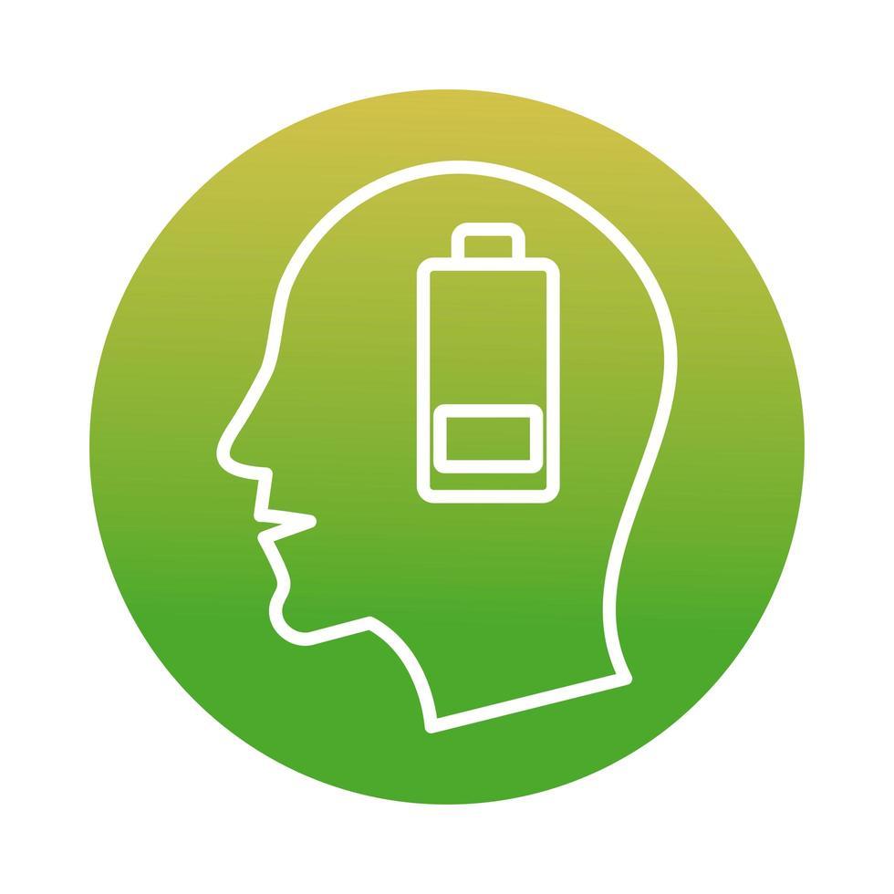tête de profil avec icône de style de bloc de batterie faible vecteur