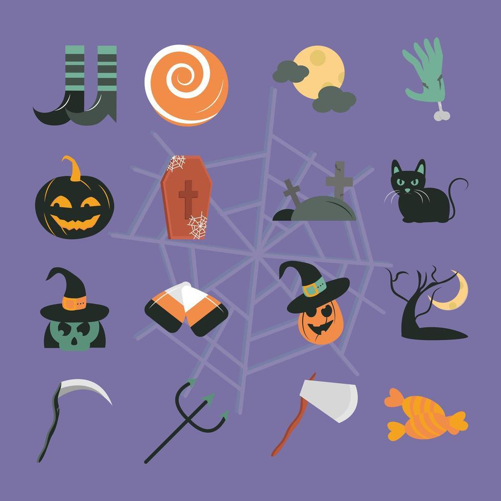 jeu d'icônes plat célébration halloween vecteur