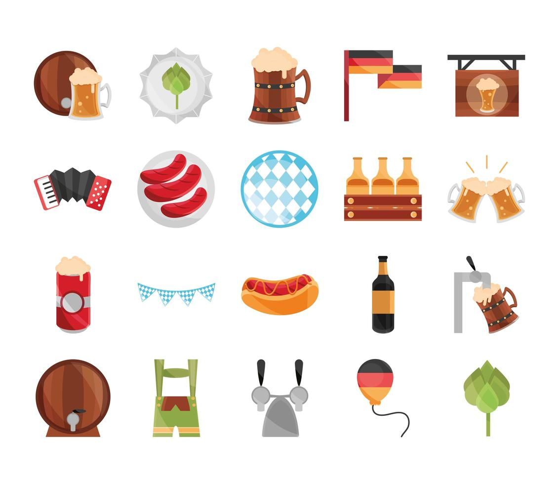 festival de la bière oktoberfest et jeu d'icônes de célébration allemande vecteur