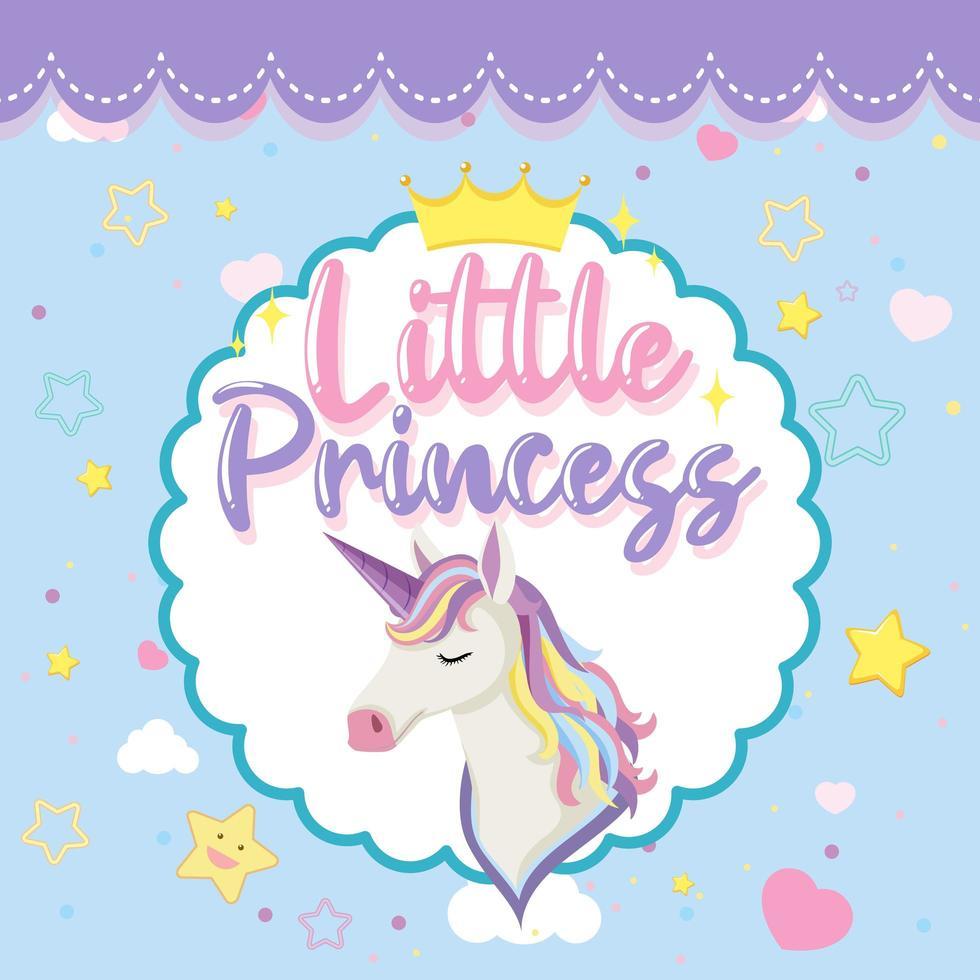 petit logo de princesse avec jolie tête de licorne vecteur