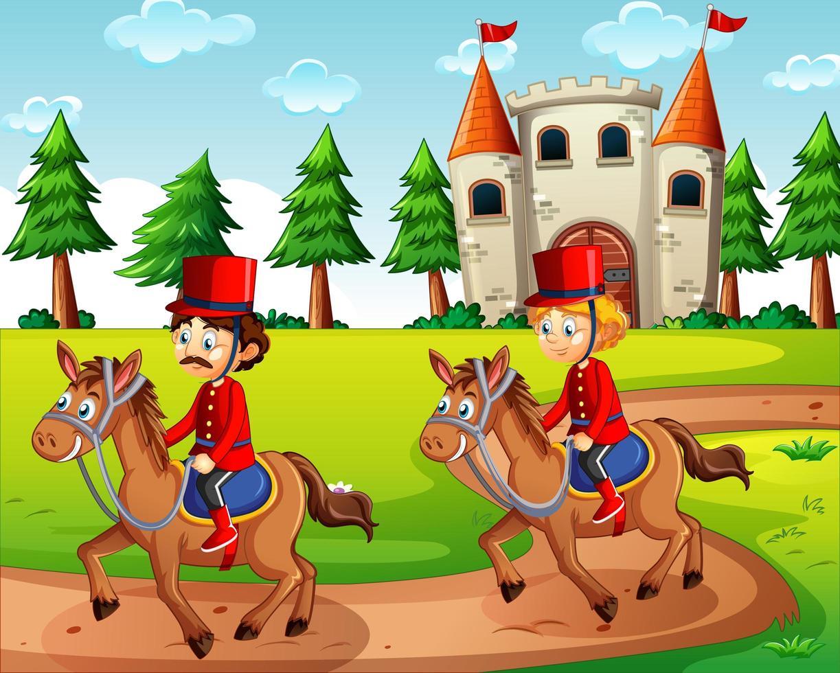scène de conte de fées avec château et soldats vecteur