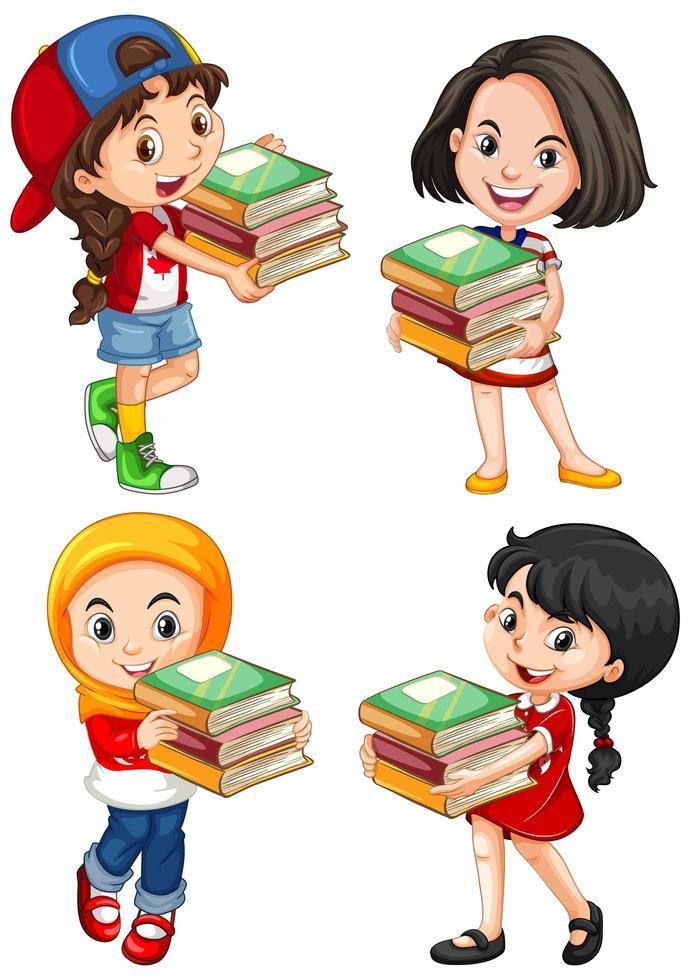jeunes filles de dessin animé tenant ensemble de livres vecteur