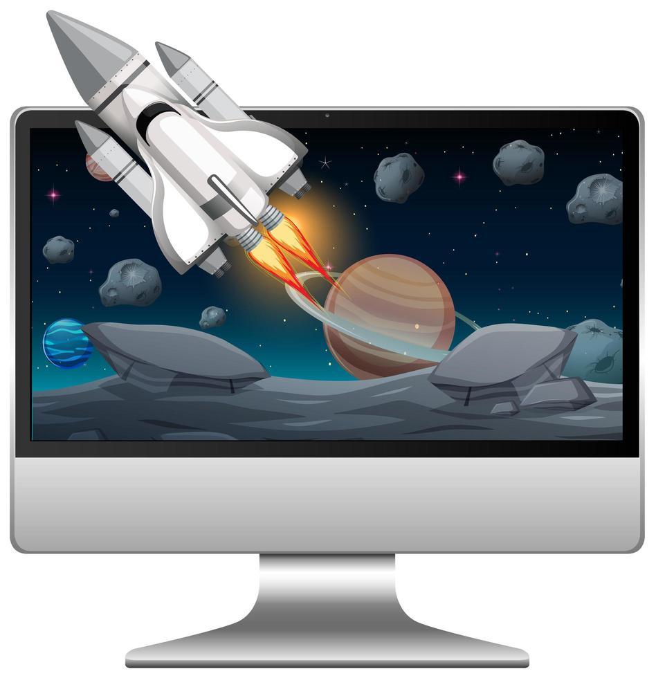 écran d & # 39; ordinateur avec scène spatiale vecteur