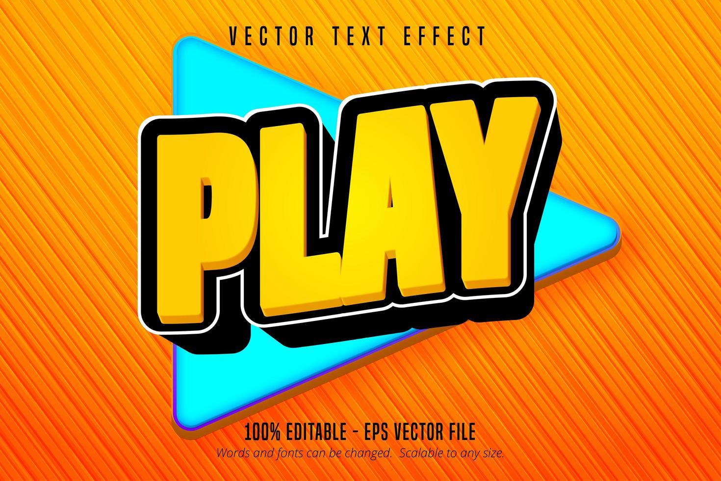 jouer du texte, effet de texte modifiable de style de jeu de dessin animé vecteur