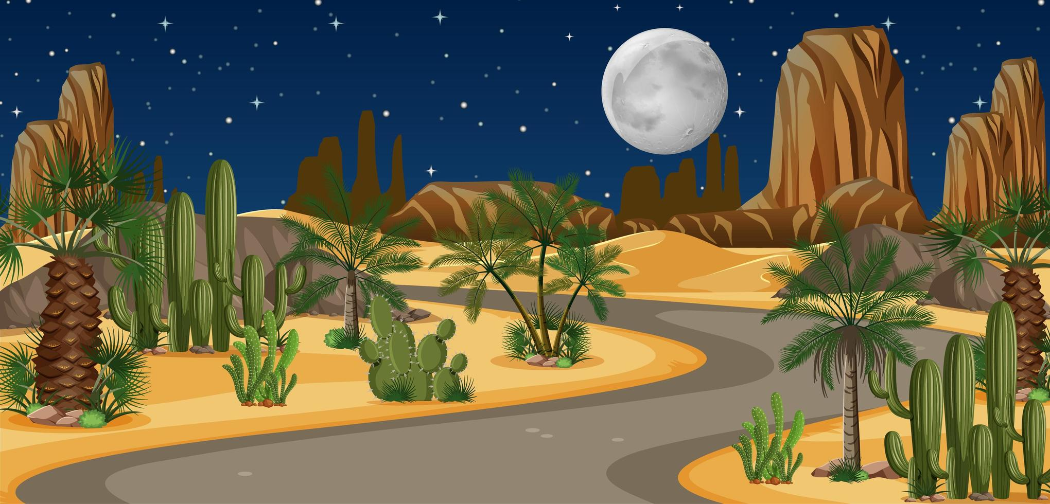 oasis du désert avec paysage de longue route vecteur