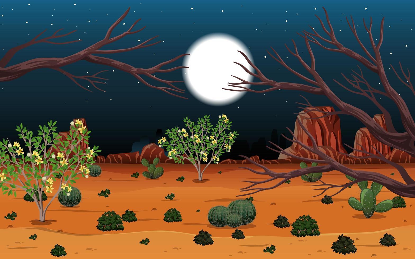 paysage désertique sauvage à la scène de nuit vecteur