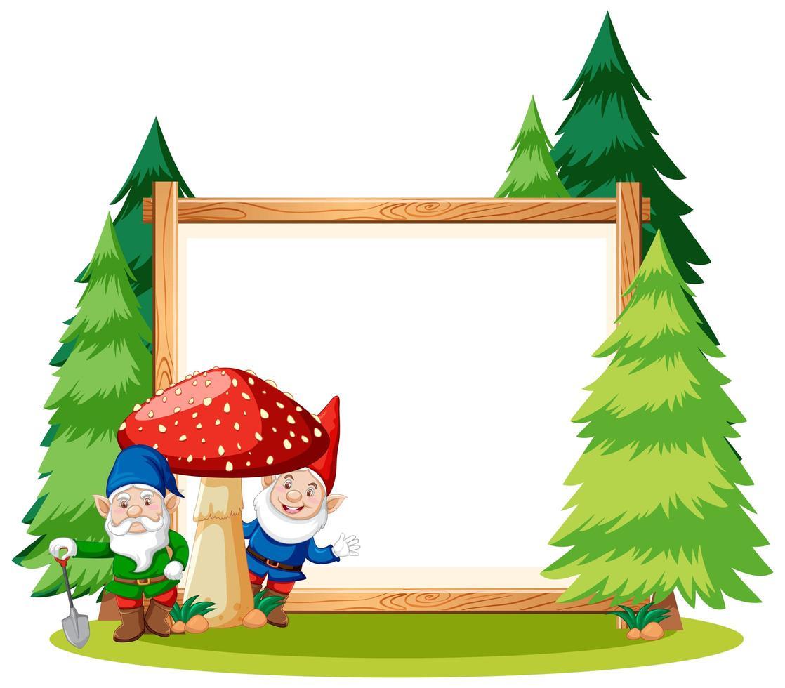 gnome et champignon avec bannière vierge vecteur