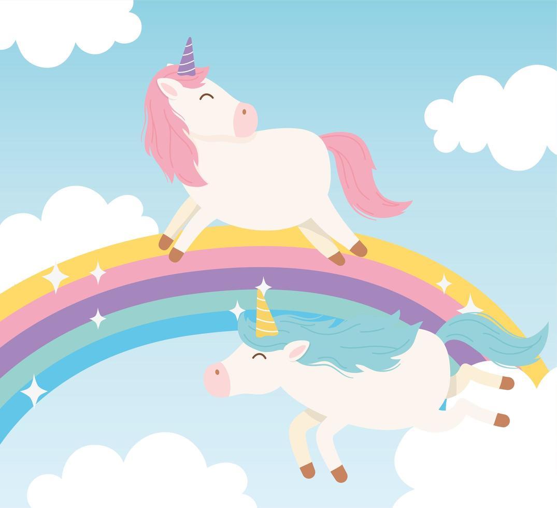 personnages de dessins animés de licornes magiques avec arc en ciel vecteur